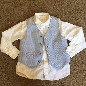 Janie & Jack Button Down Shirt & Vest sz 4 - $15